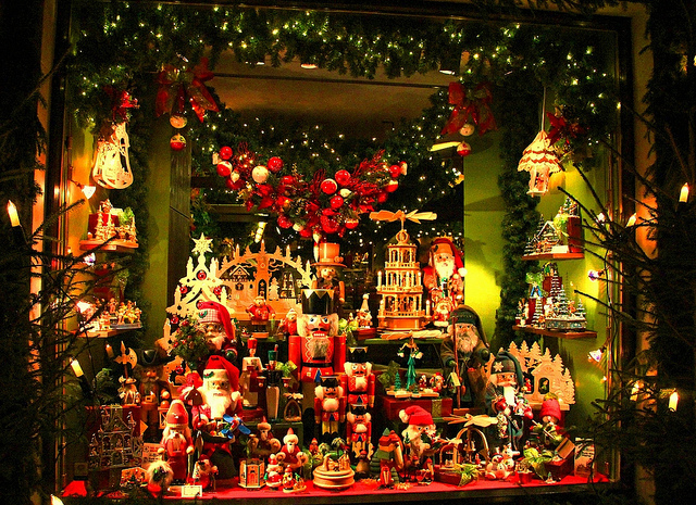 Holiday Window Decorations in Rothenburg ob der Tauber, Germany - Taken by Diann Corbett, 11/2012.