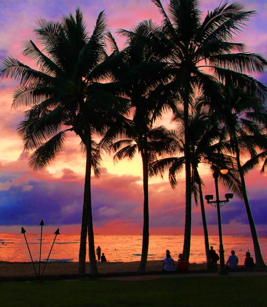 Oahu Sunset, Hawaii - Taken by Diann Corbett, 02/2014.