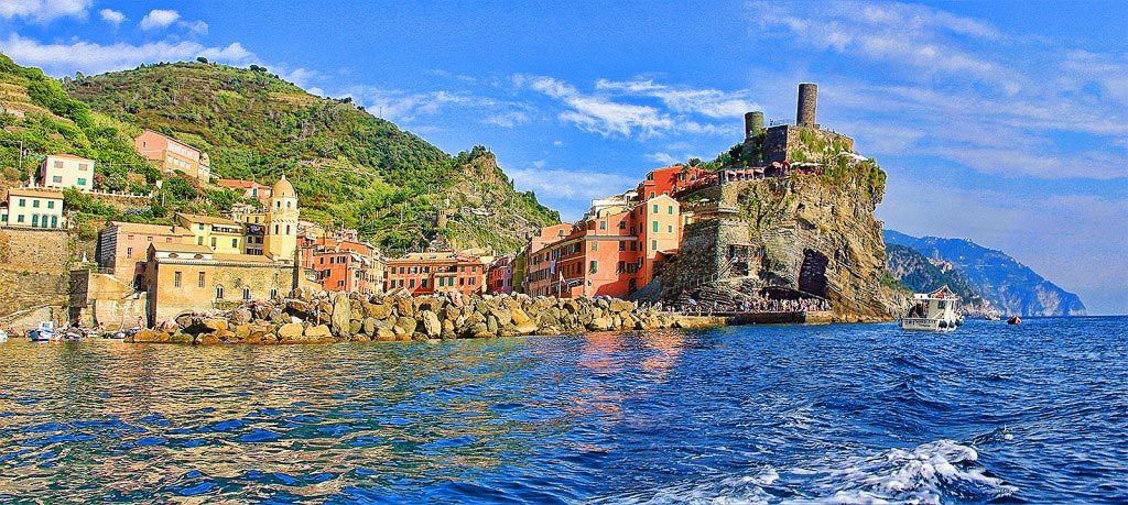 Vernazza as seen from the sea, Taken by Diann Corbett, 09/2015.