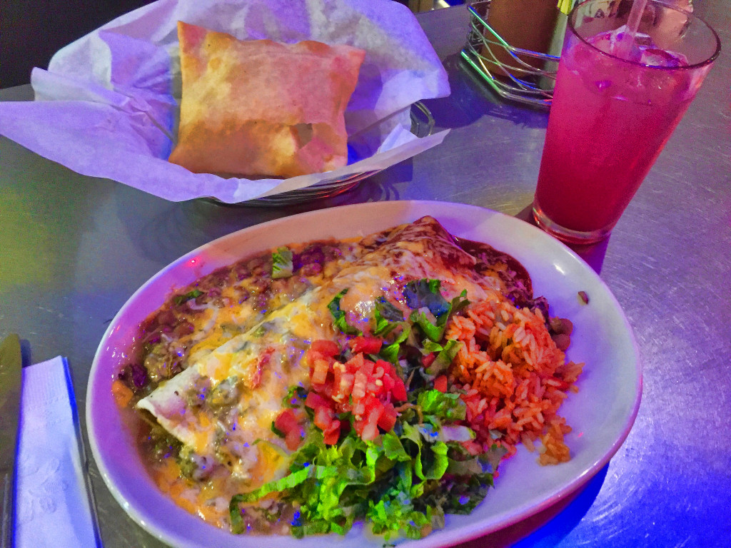 "Burrito, ""Christmas Style"" with green and red chiles, Sante Fe, NM - Taken by Diann Corbett"