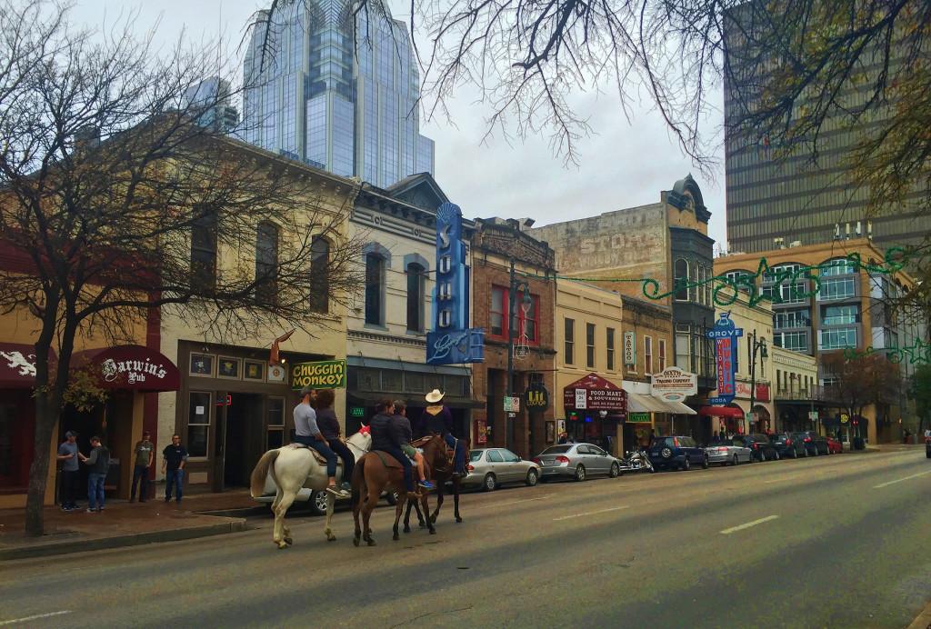 Horses on 6th Street, Austin, TX - taken by Diann Corbett, 12/2015.